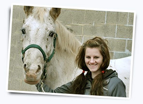 Funeral Director Tabitha Huff with her horse in Lancaster County